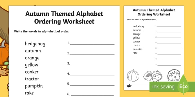 Autumn Themed Alphabet Ordering Worksheet - seasons, order, a-z