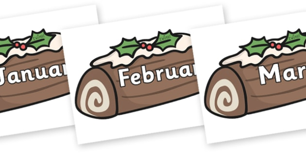 Months of the Year on Christmas Logs - Months of the Year, Months poster, Months display, display, poster, frieze, Months, month, January, February, March, April, May, June, July, August, September