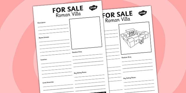 Roman Villa For Sale Worksheet - romans, rome, worksheet, sale