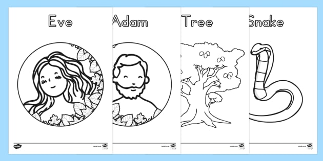 Adam and Eve Creation Story Colouring Sheets - usa, america