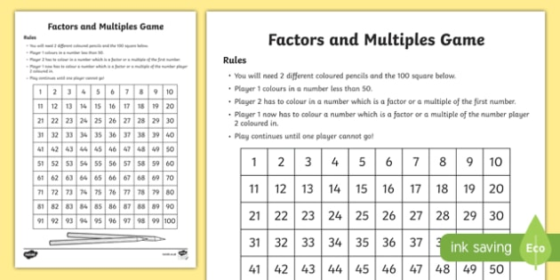 picture regarding Factor Game Printable identified as Multiples and Issue Match - Board Recreation