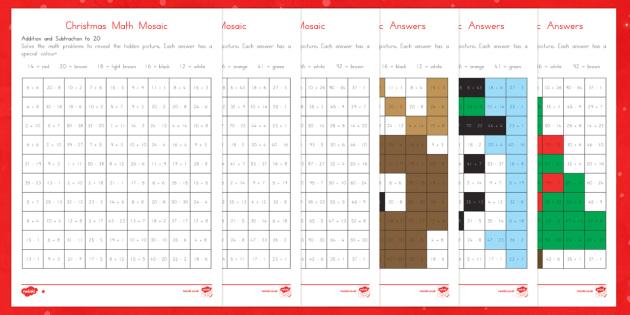 Christmas Math Mosaic Activity Sheets - Christmas, Worksheets
