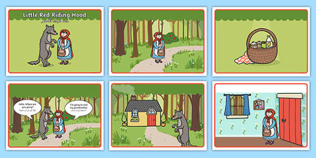Little Red Riding Hood Story Sequencing with Speech Bubbles Arabic Translation - arabic, Little Red Riding Hood, traditional tales, tale, fairy tale, Wolf, Grandma, woodcutter, bed, cottage, forest, what big teeth you have