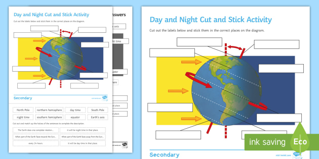 Day and night world map one day and night in lisbon portugal day and night world map day and night cut and stick worksheet activity sheet cut and gumiabroncs Choice Image