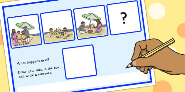 'What Happens Next? Fill in the Blank Worksheet for 'At the Beach' - beach, what happens next, sen