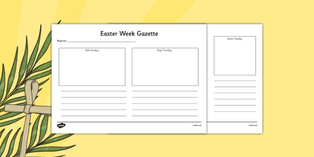 Easter Week Gazette Writing and Drawing Template - Easter, writing, template, drawing, last supper