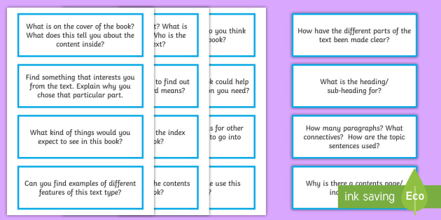 Non Fiction Reading Prompt Cards Non Fiction Reading Prompts