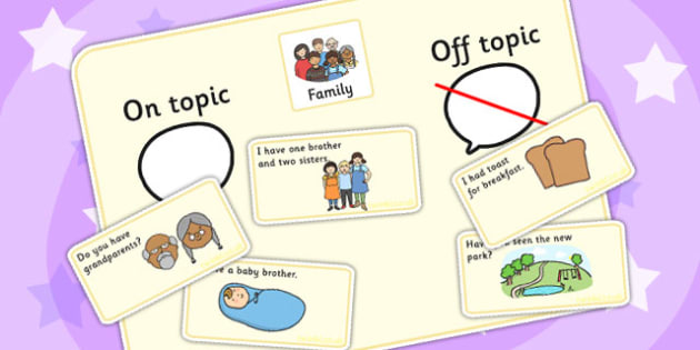 On Topic Off Topic Conversation Sorting Game Family - ordering