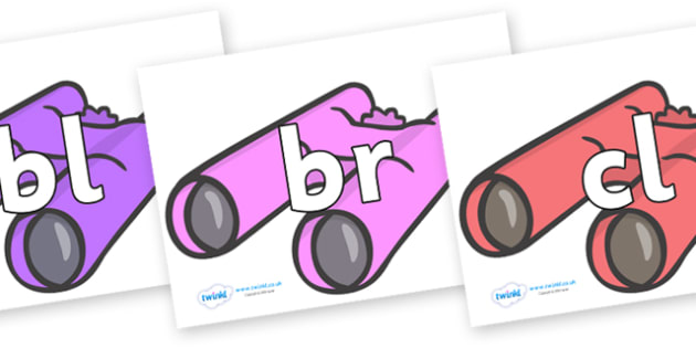 Initial Letter Blends on Binoculars - Initial Letters, initial letter, letter blend, letter blends, consonant, consonants, digraph, trigraph, literacy, alphabet, letters, foundation stage literacy