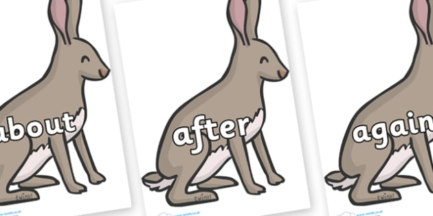 KS1 Keywords on Hares - KS1, CLL, Communication language and literacy, Display, Key words, high frequency words, foundation stage literacy, DfES Letters and Sounds, Letters and Sounds, spelling