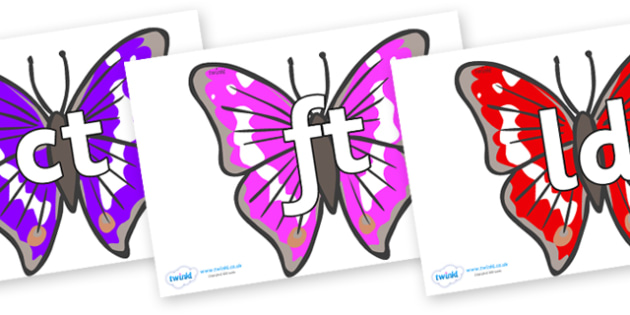 Final Letter Blends on Emperor Butterflies - Final Letters, final letter, letter blend, letter blends, consonant, consonants, digraph, trigraph, literacy, alphabet, letters, foundation stage literacy