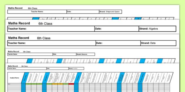6th Class Maths Record Spreadsheet - irish, maths, assessment, testing, 6th class