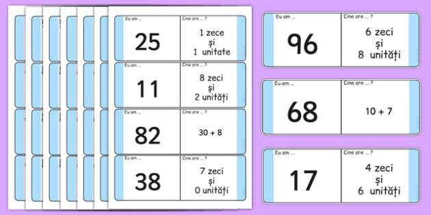"""Jocul numerelor - Cartonașe pentru jocul """"Eu am..."""", """"Cine are?"""""""