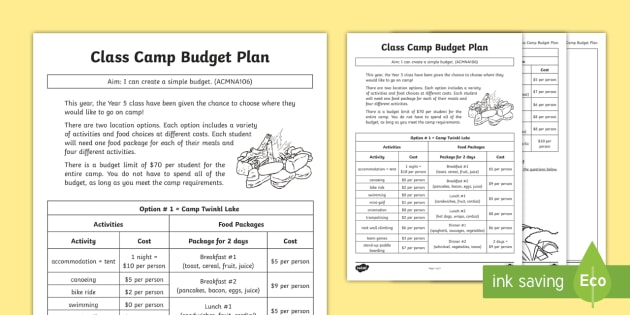 Class Camp Budget Plan Worksheet  Activity Sheet  Money