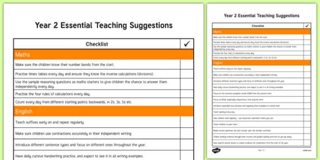 Year 2 Essential Teaching Suggestions Checklist