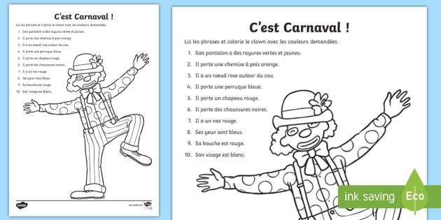 Coloriage Clown Cp.Fiche De Lecture Et Coloriage Le Clown Carnaval Mardi Gras