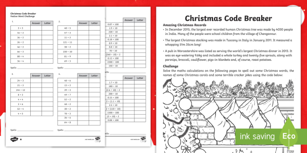ks2 christmas code breaker differentiated differentiated worksheet. Black Bedroom Furniture Sets. Home Design Ideas