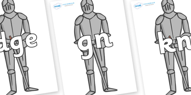 Silent Letters on Suits of Armour - Silent Letters, silent letter, letter blend, consonant, consonants, digraph, trigraph, A-Z letters, literacy, alphabet, letters, alternative sounds