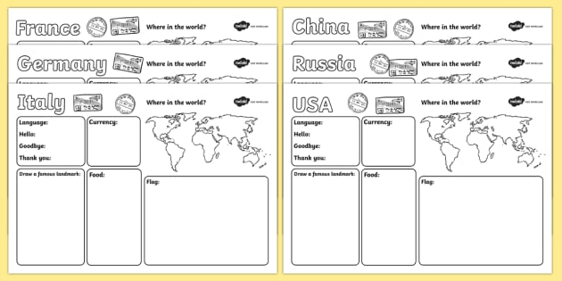 Passport to the World Writing Frames - passport worksheet, around the world, places around the world, countries, country fact file, country information