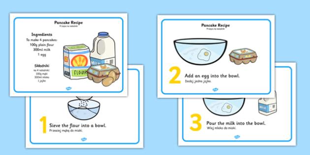 Pancake Recipe Sheets Polish Translation - Polish, pancake, pancake day, recipe, cooking