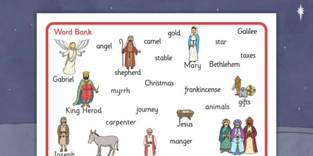 Nativity Word Bank - Nativity, Christmas, xmas, Word mat, writing aid, Mary, Joseph, Jesus, shepherd, wise men, Herod, angel, donkey, stable, Gabriel, First Christmas,Inn, Star, God