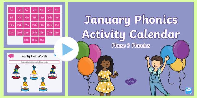 Phase 3 January Phonics Activity Calendar PowerPoint Reading