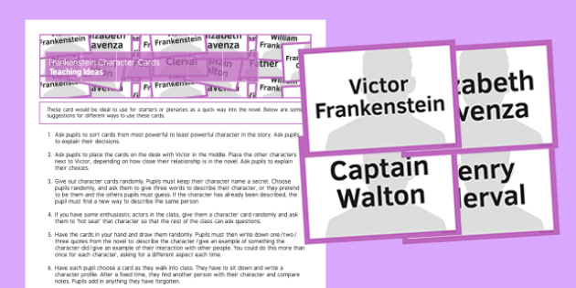 Frankenstein Character Cards Resource Pack - frankenstein, character, cards, resource pack, resource, pack