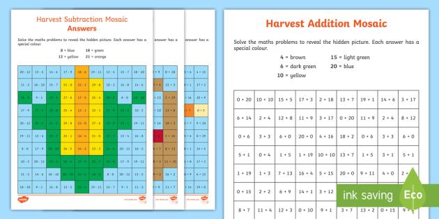 ks1 harvest addition and subtraction mosaic worksheet activity sheets. Black Bedroom Furniture Sets. Home Design Ideas