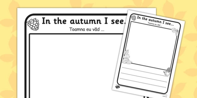 In the Autumn I See Writing Frame Romanian Translation - romanian