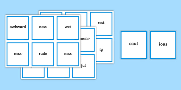 Suffix and Word Ending Matching Cards