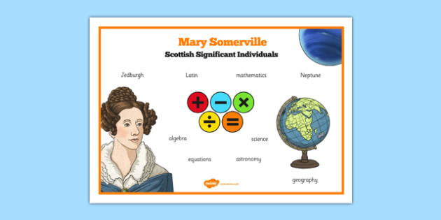 Scottish Significant Individuals Mary Somerville Word Mat -CfE, significant individuals, women, science, maths, astronomy
