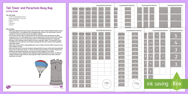 Tall Tower and Parachute Busy Bag Resource Pack for Parents - height, building, construction, size, shape space and measure