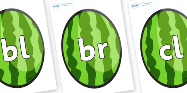 Initial Letter Blends on Melons (Vertical) - Initial Letters, initial letter, letter blend, letter blends, consonant, consonants, digraph, trigraph, literacy, alphabet, letters, foundation stage literacy