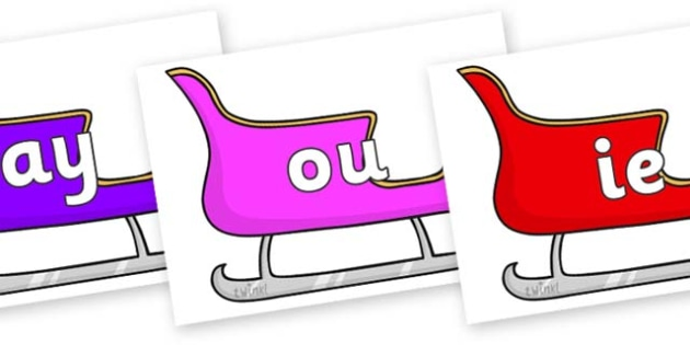 Phase 5 Phonemes on Christmas Sleighs (Multicolour) - Phonemes, phoneme, Phase 5, Phase five, Foundation, Literacy, Letters and Sounds, DfES, display