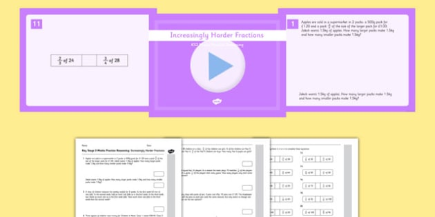 KS2 Reasoning Test Practice Increasingly Harder Fractions Pack - Key Stage 2, Reasoning Test, Practice, Fractions, Decimals, Percentages, Year 6,