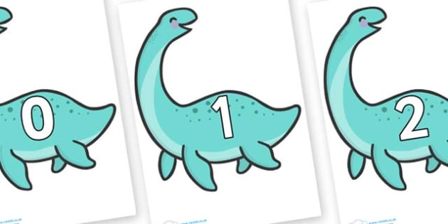 Numbers 0-31 on Pleseosaur Dinosaurs - 0-31, foundation stage numeracy, Number recognition, Number flashcards, counting, number frieze, Display numbers, number posters