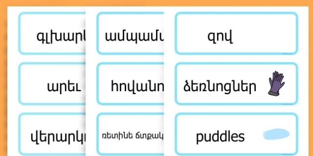 Winter Word Cards - seasons, weather, key words, visual aids  - Armenian