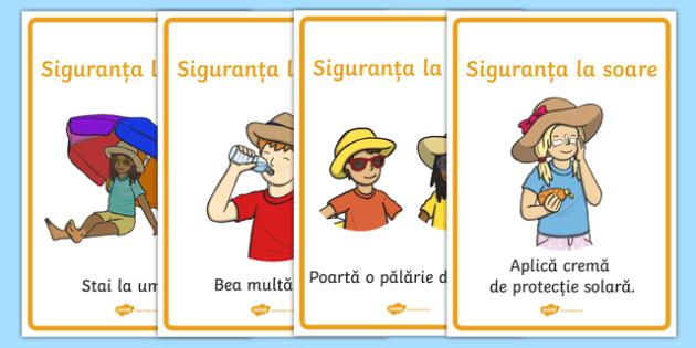Siguranța la soare - Planșe cu reguli - soare, vară, siguranta, planșă, reguli, activitate, materiale didactice, română, romana, material, material