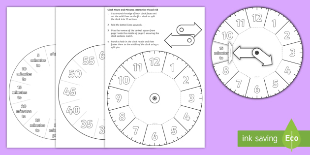 Clock Hours and Minutes Interactive Visual Aid - clock, aid
