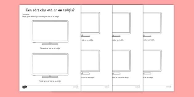 Cén sórt clár atá ar an teilifis? Television Programme Worksheet / Activity Sheet Irish Gaeilge - Gaeilge, Irish, television, T.V., programmes, worksheet / activity sheet, worksheet
