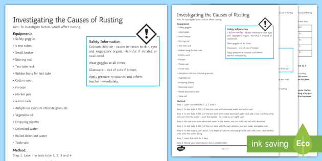 Causes of Rusting Investigation Help Sheet Print-Out - Investigation Help Sheet, science practical, method, instructions, rusting, rust, oxidation
