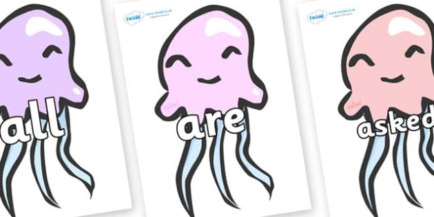 Tricky Words on Jelly Fish - Tricky words, DfES Letters and Sounds, Letters and sounds, display, words