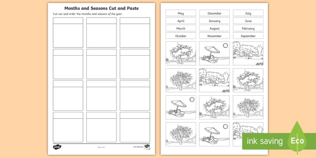 months and seasons cut and paste worksheet worksheet mathematics year 2. Black Bedroom Furniture Sets. Home Design Ideas