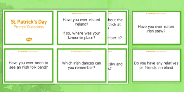 Elderly Care St Patrick's Day Prompt Questions - Elderly, Reminiscence, Care Homes, St. Patrick's Day