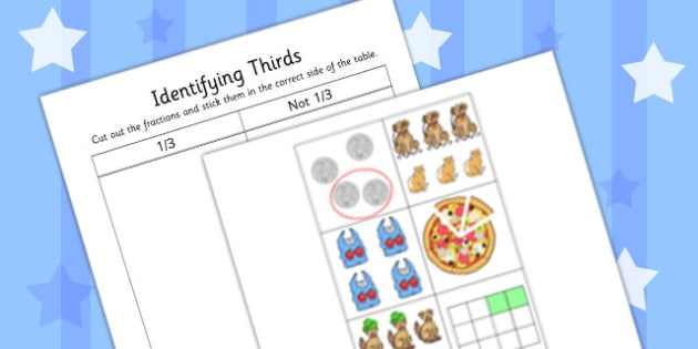 Identifying Thirds Cut and Stick Activity Sheet - identifying, thirds, worksheet