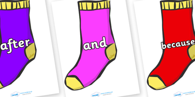 Connectives on Socks - Connectives, VCOP, connective resources, connectives display words, connective displays