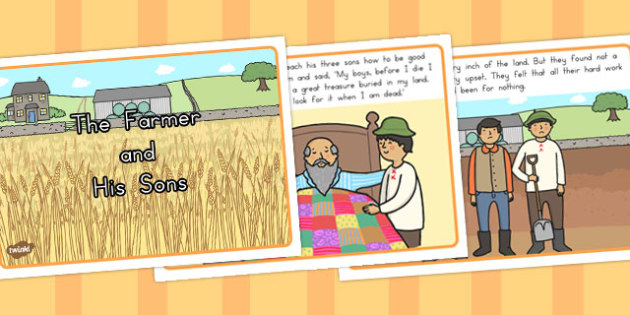The Farmer and His Sons Story Sequencing Cards - australia, cards