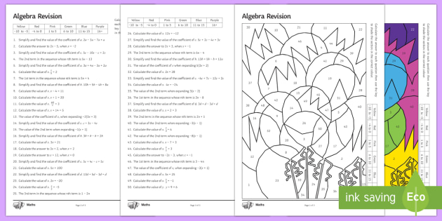 Algebra Revision Differentiated Color By Numbers Pack