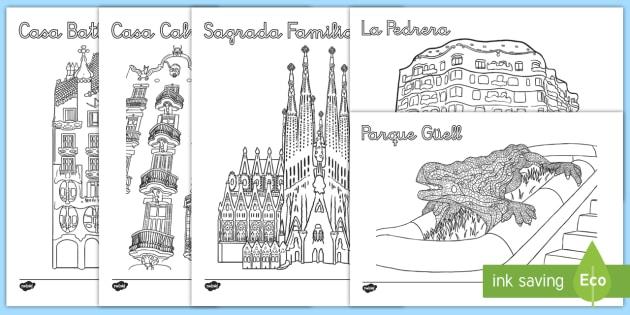 Hoja de colorear: Colorea a Gaudí - Gaudí, modernismo, arte