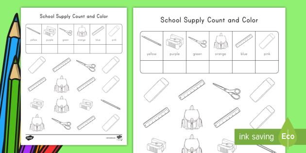 School Supplies Color and Count Worksheet / Worksheet, worksheet